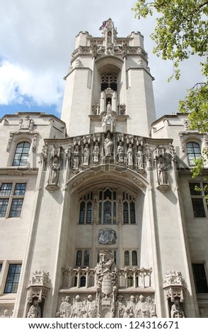London, United Kingdom - Middlesex Guildhall, home of the Supreme Court of the United Kingdom.