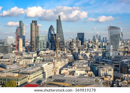 London, United Kingdom - October 20, 2015: View to City of London as seen from St Paul cathedral on 20th of October, 2015