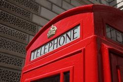 London, United Kingdom - red telephone box close-up.