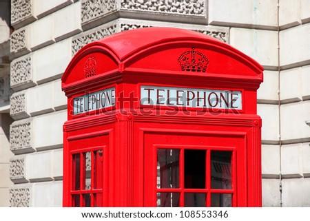 London, United Kingdom - red telephone box close-up. - stock photo