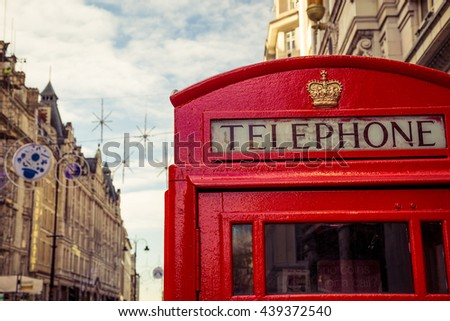 London, United Kingdom - red telephone box close-up.