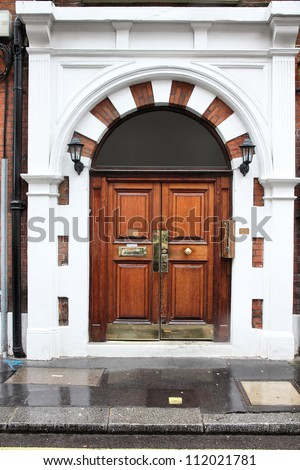London, United Kingdom - typical Georgian architecture door.
