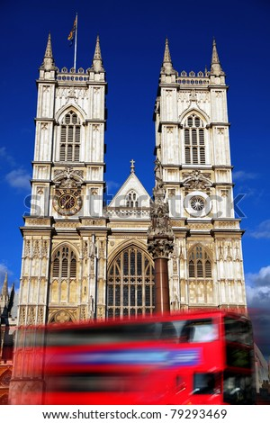 London, Westminster Abbey with red double decker, UK