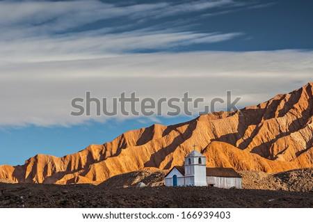 Lone adobe chapel atacama desert