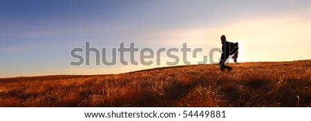 Lone hiker in wilderness