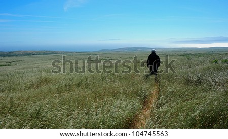 Lone Hiker on San Miguel Island