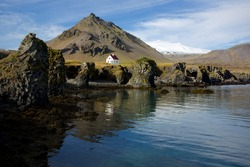 Lone house on the coastline of the Snaefellsnes peninsula in Iceland
