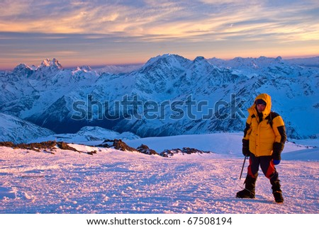 Lone male mountain climber