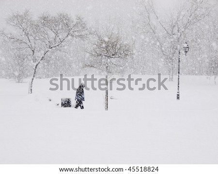 Lone person walking in a park during a heavy snowfall