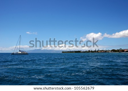 Lone Sailboat on Pacific Ocean Maui Hawaii