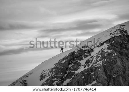 lone skier hiking to freeride in Obertauern Zdjęcia stock ©
