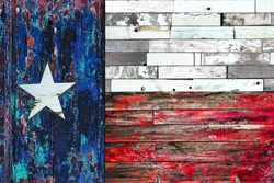 Lone Star flag. Flag of Texas on old painted grunge wood planks background