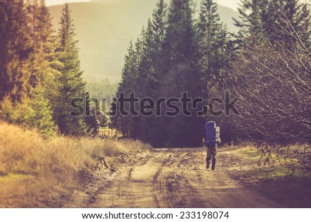 lone traveler with a backpack...