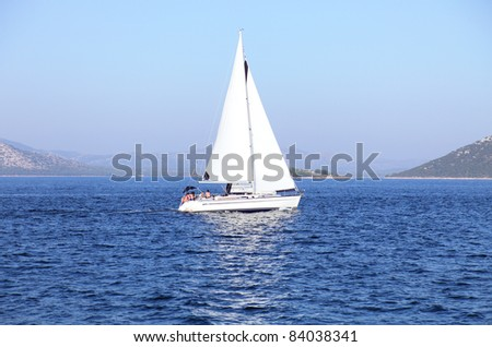 Lone yacht sailing in the Adriatic sea