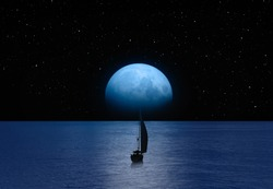 Lone yacht with super Blue Moon