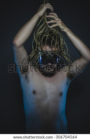 loneliness, depression and anxiety, naked man with a crown of thorns on his head