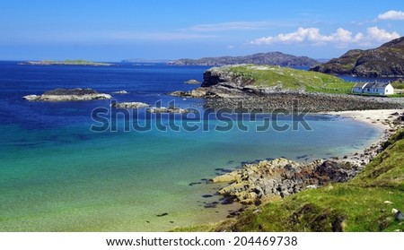Lonely beach along the scottish west coast #204469738