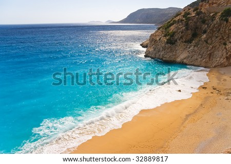 Lonely beach, Mediterranean coast,Turkey - stock photo