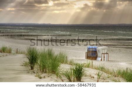 """Lonely Beach """"Schwarzer Busch"""" at island Poel (Mecklenburg-Vorpom mern,  Germany) - stock photo"""