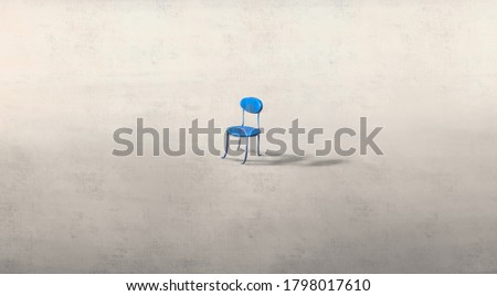 Lonely chair, sad depression alone and loneliness concept artwork, drawing illustration, emotional art
