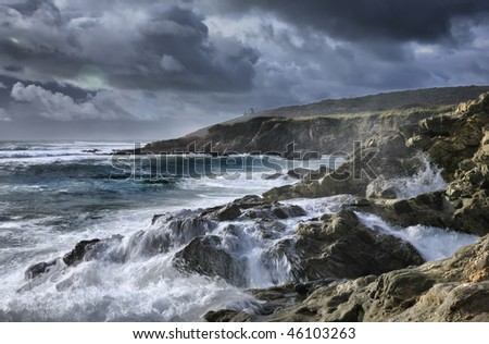 Lonely chapel on the atlantic oceans coastline in storm, high density range image