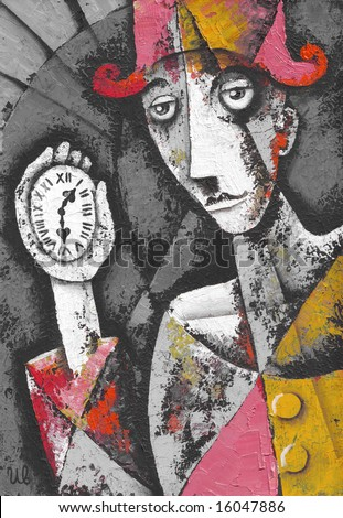 Lonely clown with pocket watch. Illustration by Eugene Ivanov.