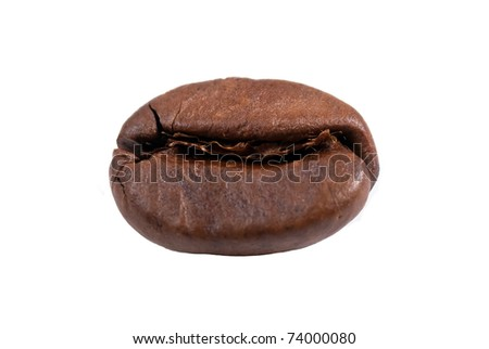 lonely coffee bean isolated - stock photo