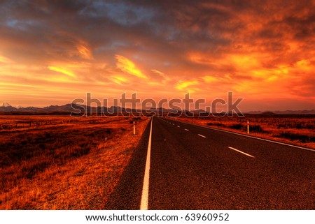 lonely country road landscape in vibrant colors