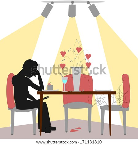 Lonely diner.  A lonely man sits at a table with no one to share his life with. A bouquet of hearts is fading and the man is sad.