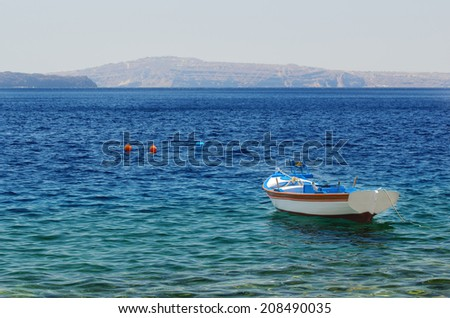 Lonely fishing boat at sea #208490035