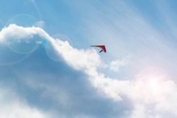Lonely flying wing in the sky with clouds. Dream of flying.