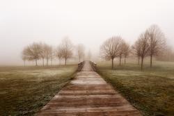 Lonely footbridge in a foogy day