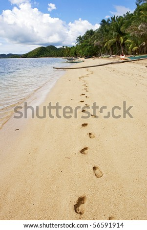 Lonely footprints on tropical beach, Busuanga island, Palawan,  Philippines