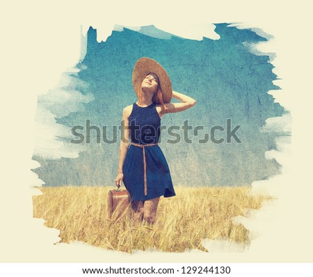 Lonely girl with suitcase at country. Photo in old paint color image style.