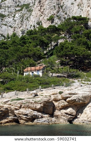 Lonely house on the rock at calanque between Marseille and Cassis, France