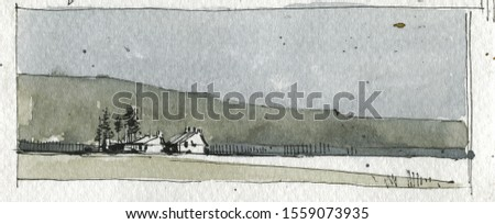 Lonely houses in valley hand drawn watercolor illustration. Old cottages with fir trees, countryside landscape. Countryside scenery with distant buildings. Rural life scene aquarelle painting