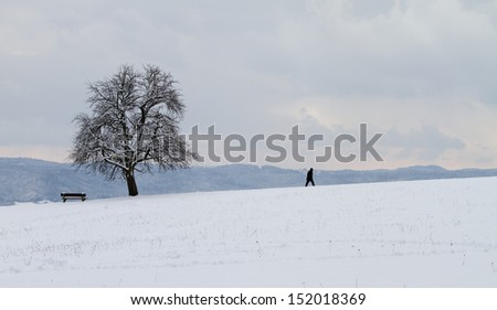 lonely man in winter