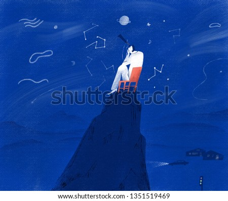 Lonely man on the top of the mountain looking up at the starry sky