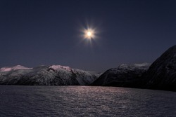 Lonely moon on a clear nightsky