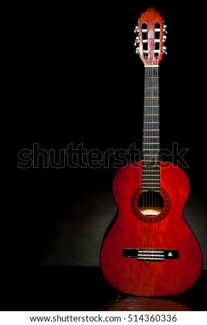 Abstract Grunge Black Background With Acoustic Guitar On Brown Ez