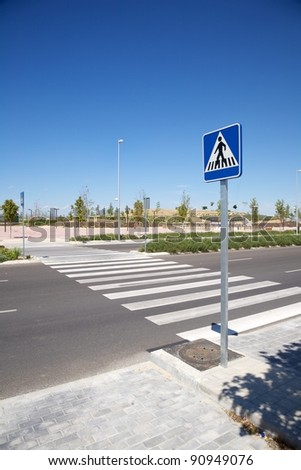lonely new street at Madrid city in Spain