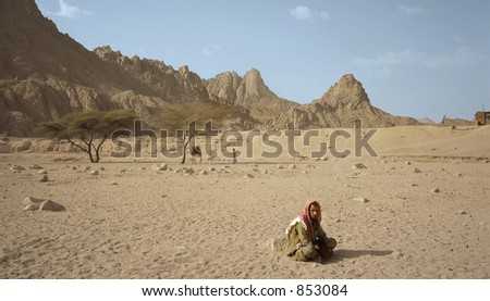 Lonely nomad in Egyptian desert
