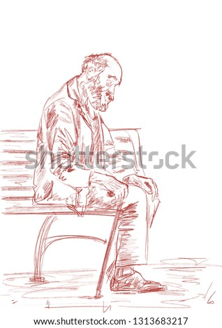 Lonely old man with walking stick is dozing on a bench. Loneliness, poverty, old age. Pencil sketching. Brown pastel contour on white background. Hand-drawn illustration.