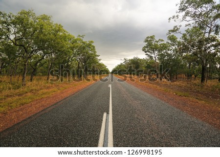 Lonely Outback Highway in Northern Territory, Australia