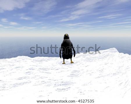 Lonely  penguin on a floating ice floe in the Atlantic ocean - stock photo