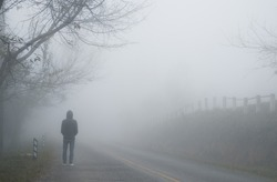 lonely person on the road