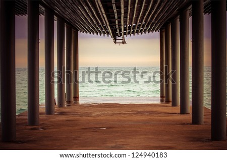 Lonely pier with columns