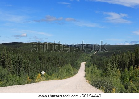 Lonely road in Quebec on the way to Labrador Highway