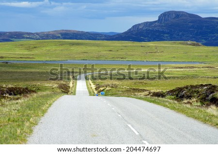 Lonely Road near the village Tongue, Scotland #204474697