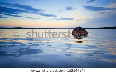 lonely rock in the water at sunset